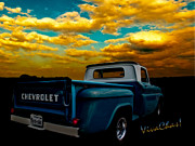 Chevrolet Pickup Truck Posters - 56 Chevy Truck and the Lake Canyon Sunset Poster by Chas Sinklier