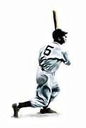 Baseball Game Drawings Framed Prints - 56 Joe DiMaggio Framed Print by Iconic Images Art Gallery David Pucciarelli
