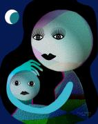 Hugging Digital Art - 569 - MoonMotherChild by Irmgard Schoendorf Welch