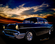Street Rod Art - 57 Belair Two-Door Sedan is Oh So Black by Chas Sinklier