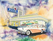 Buick Paintings - 57 Buick Debut by Alan Goldbarg