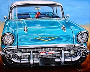 57 Chevy Painting Framed Prints - 57 Chevy Front End Framed Print by Karl Wagner