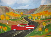 57 Chevy Painting Framed Prints - 57 chevy Rd to Chama Framed Print by David Delaney