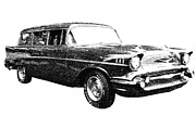 57 Chevy Wagon Print by Guy Whiteley