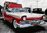 Antique Automobiles Posters - 57 Ford Fairlane Skyliner Poster by Victor Montgomery