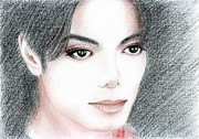 Acrylic Prints Drawings - Michael Jackson by Eliza Lo