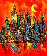 Fall Panorama Paintings - City by Mark Kazav