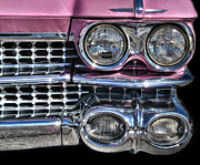 Antique Automobiles Framed Prints - 59 Caddy Lights Framed Print by Victor Montgomery