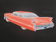 Pink Cadillac Prints - 59 Coupe DeVille Print by Christopher Callen