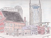 Nashville Drawings Prints - 5th and Broadway - Nashville Print by Christa Cruikshank