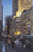 Gotham City Painting Framed Prints - 5th at Twilight Framed Print by Linda Tenukas