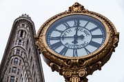 Flatiron Framed Prints - 5th Avenue Clock Framed Print by John Farnan