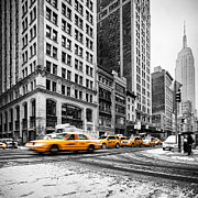 Empire State Framed Prints - 5th Avenue yellow cab Framed Print by John Farnan