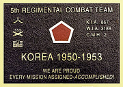 Pusan Prints - 5TH Regimental Combat Team Arlington Cemetary Memorial Print by Nadine and Bob Johnston