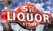 Americana Posters - 5th Stree Liquor Watercolor Poster by Anthony Ross