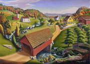 Grant Wood Paintings - 5x7 greeting card Covered Bridge Appalachian Landscape  by Walt Curlee