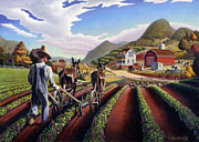 Grant Wood Paintings - 5x7 greeting card Cultivating The Peas Farm Landscape  by Walt Curlee