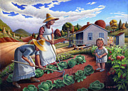 Grant Wood Paintings - 5x7 greeting card Grandmother Mother Family Garden Rural Farm Country Landscape by Walt Curlee