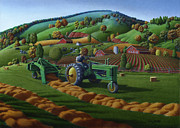 John Deere Paintings - 5x7 greeting card John Deere Farm Tractor Baling Hay by Walt Curlee