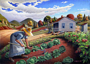 Garden Scene Paintings - 5x7 greeting card Mother In Garden Rural Country Appalachian landscape by Walt Curlee