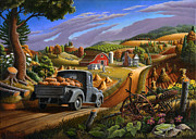 Grant Wood Paintings - 5x7 greeting card Rural Country Farm Pumpkins Landscape by Walt Curlee