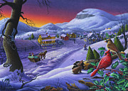 Grant Wood Paintings - 5x7 greeting card Small Town Cardinals Christmas Sleigh Ride Farm Landscape by Walt Curlee