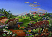Grant Wood Paintings - 5x7 greeting card Spring Groundhog Country Farm Landscape by Walt Curlee