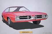 Concepts  Mixed Media - 1967 BARRACUDA   Plymouth vintage styling design concept rendering sketch by John Samsen