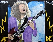 Ken Zabel Metal Prints - Angus Young forever. Metal Print by Ken Zabel