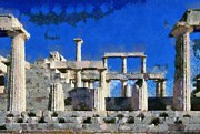 Temple Paintings - Aphaia Athina temple by George Atsametakis