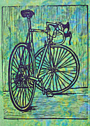 Lino Framed Prints - Bike 4 Framed Print by William Cauthern