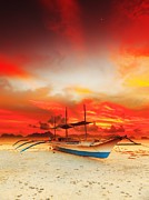 Palawan Prints - Boat at sunset Print by MotHaiBaPhoto Prints