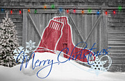 Christmas Greeting Photo Framed Prints - Boston Red Sox Framed Print by Joe Hamilton