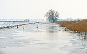 Flevoland Art - Canal through the countryside in winter by Jan Marijs