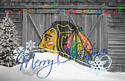Christmas Greeting Photo Framed Prints - Chicago Blackhawks Framed Print by Joe Hamilton