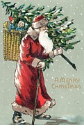 Santa Claus Art - Christmas card by English School