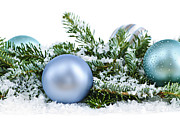 Balls Metal Prints - Christmas ornaments Metal Print by Elena Elisseeva