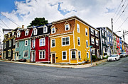Sidewalk Framed Prints - Colorful houses in St. Johns Newfoundland Framed Print by Elena Elisseeva