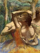 Color Pastels Prints - Dancers Print by Edgar Degas