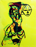 Jesus Drawings Posters - Dinka Lady - South Sudan Poster by Gloria Ssali