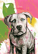 Dog Pet Portraits Mixed Media Posters - Dog stylised pop modern art drawing sketch portrait Poster by Kim Wang