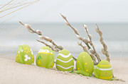 April Art - Easter decorated eggs on sand by Michal Bednarek