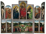 Adoration Framed Prints - Eyck, Jan Van 1390-1441 Eyck, Hubert Framed Print by Everett