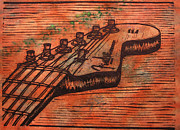 Linocut Drawings Originals - Fender Strat by William Cauthern