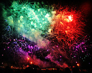 City Scapes Greeting Cards Posters - Fireworks Poster by Carol Toepke