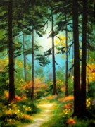 Serenity Landscapes Paintings - Forest  Light  by Shasta Eone