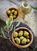 Italian Restaurant Posters - Fresh olives Poster by Mythja  Photography