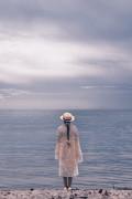 Girl At The Sea Print by Joana Kruse