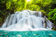 Travel Photo Prints - Huai Mae Kamin Waterfall Print by Anek Suwannaphoom