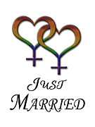 Just Married Posters - Just Married - Lesbian Pride - Marriage Equality Poster by Tavia Walker